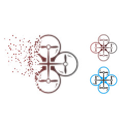 Dissolving pixel halftone quad copter icon vector