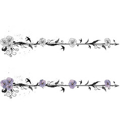 Dividers with flowers of viola vector
