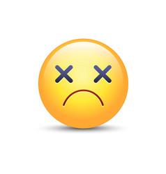 Dizzy emoji face cross eyes emoticon icon sad vector