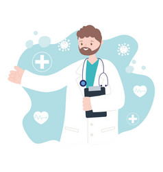 doctors and nurses male physician with uniform vector image