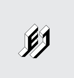 E and j - monogram or logotype isometric 3d font vector