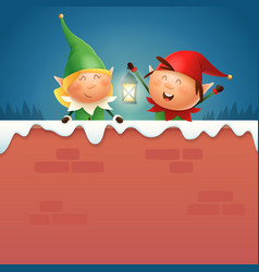 elves girl and boy with lantern on snowy wall vector image