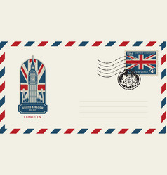 Envelope with london big ben and flag of uk vector