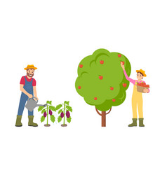 farmers man and woman set vector image