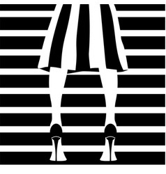 fashion model in stripped skirt vector image