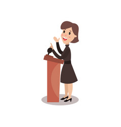 Female politician character standing behind vector