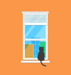 flat with calm window view vector image
