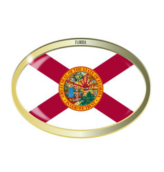 Florida state flag oval button vector