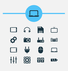 Gadget icons set with floppy disk laptop tv and vector