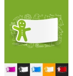 gingerbread man paper sticker with hand drawn vector image