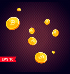 gold bitcoin coins falling 3d realistic vector image