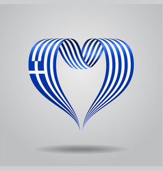 Greek flag heart-shaped ribbon vector