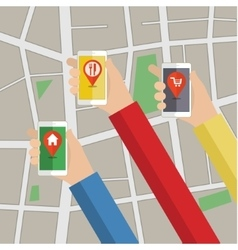 Hands hold smarthphone with gps map vector