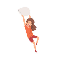 Happy girl fighting with pillow naughty rowdy vector