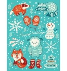 Happy holidays card christmas set with cartoon vector
