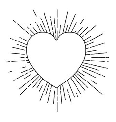 heart symbol love with linear brightness vector image