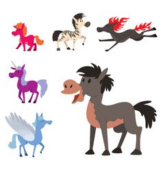 horse pony stallion breeds color farm vector image