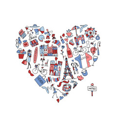 i love france icons collection sketch for your vector image