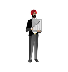Indian bearded businessman with business diagram vector
