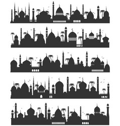 Islamic city skyline flat sketch vector