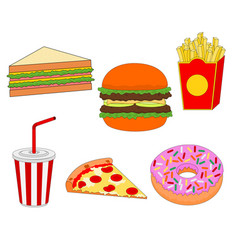 isolated tasty fast food icon set vector image