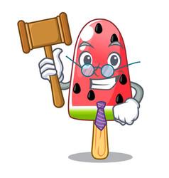 Judge ice cream watermelon on shape mascot vector