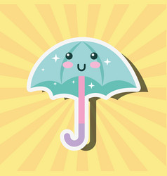 kawaii happy umbrella cartoon weather vector image