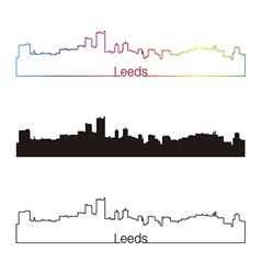 Leeds skyline linear style with rainbow vector image