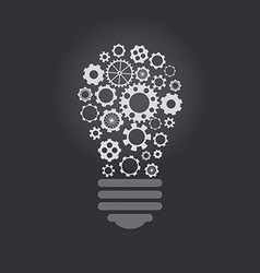 Lightbulb with cogwheels vector image
