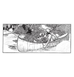 Man canoeing vintage vector