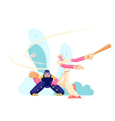 men athlete characters in uniform playing baseball vector image