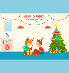 Merry christmas and happy new year children home vector