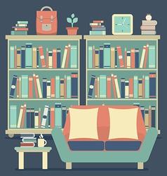 Modern Design Interior Chairs and Bookshelf vector image