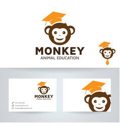 Monkey education logo design vector