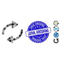 Mosaic refresh icon with grunge japan hiroshima vector