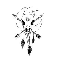 Mystical raven skull outline boho totem vector