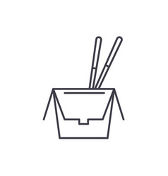 noodles in a box line icon concept noodles in a vector image