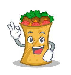 Okay kebab wrap character cartoon vector