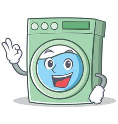 Okay washing machine character cartoon vector