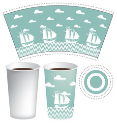 paper cup template with sailing ships in the sea vector image
