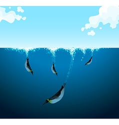 Penguins swimming under the ocean vector