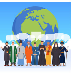 People from world religions flat composition vector