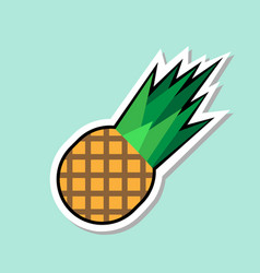 Pineapple sticker on blue background colorful vector