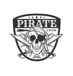 pirate icon skull and crossed sabers emblem vector image