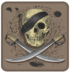 Pirate skull with swords vector