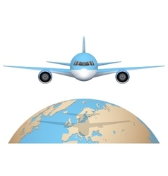 Plane flies over globe vector