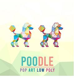 poodle dog animal pet pop art low poly line logo vector image