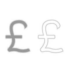pound sterling grey set icon vector image