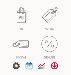 Price tag sale bag and coupon icons vector