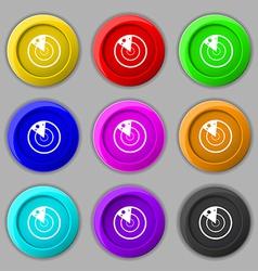 radar icon sign symbol on nine round colourful vector image